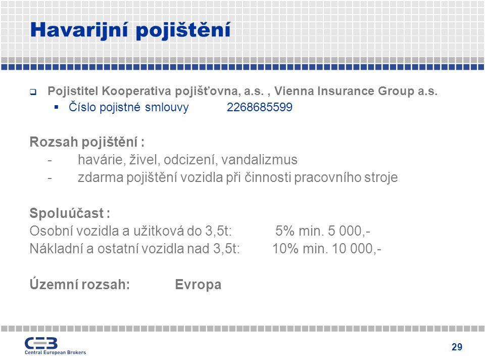 29 Havarijní pojištění  Pojistitel Kooperativa pojišťovna, a.s., Vienna Insurance Group a.s.