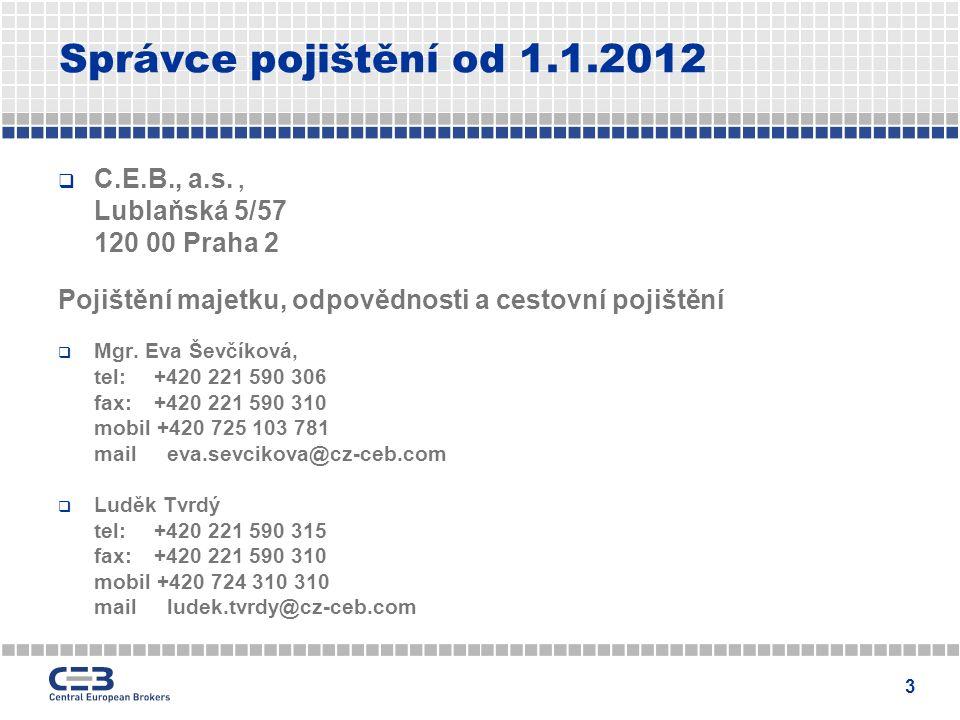 3 Správce pojištění od 1.1.2012  C.E.B., a.s., Lublaňská 5/57 120 00 Praha 2 Pojištění majetku, odpovědnosti a cestovní pojištění  Mgr.