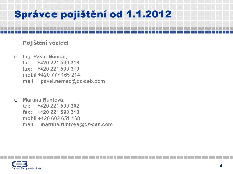 4 Správce pojištění od 1.1.2012 Pojištění vozidel  Ing.