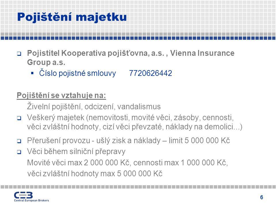 7 Pojištění majetku  Elektronická zařízení Nepřenosná elektronika max.