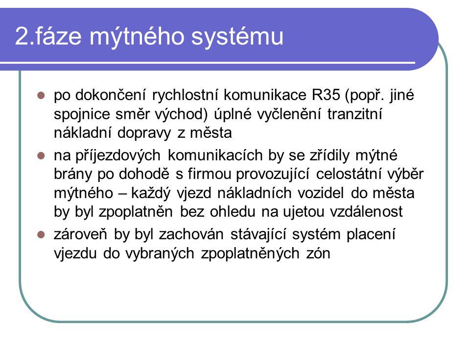 2.fáze mýtného systému po dokončení rychlostní komunikace R35 (popř. jiné spojnice směr východ) úplné vyčlenění tranzitní nákladní dopravy z města na