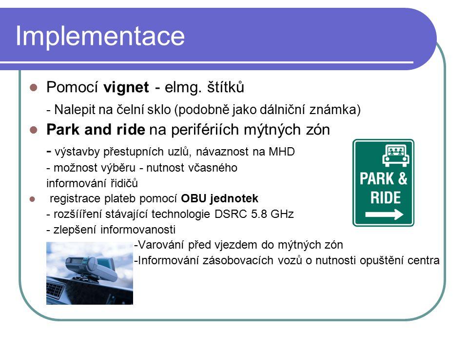 Implementace Pomocí vignet - elmg. štítků - Nalepit na čelní sklo (podobně jako dálniční známka) Park and ride na perifériích mýtných zón - výstavby p