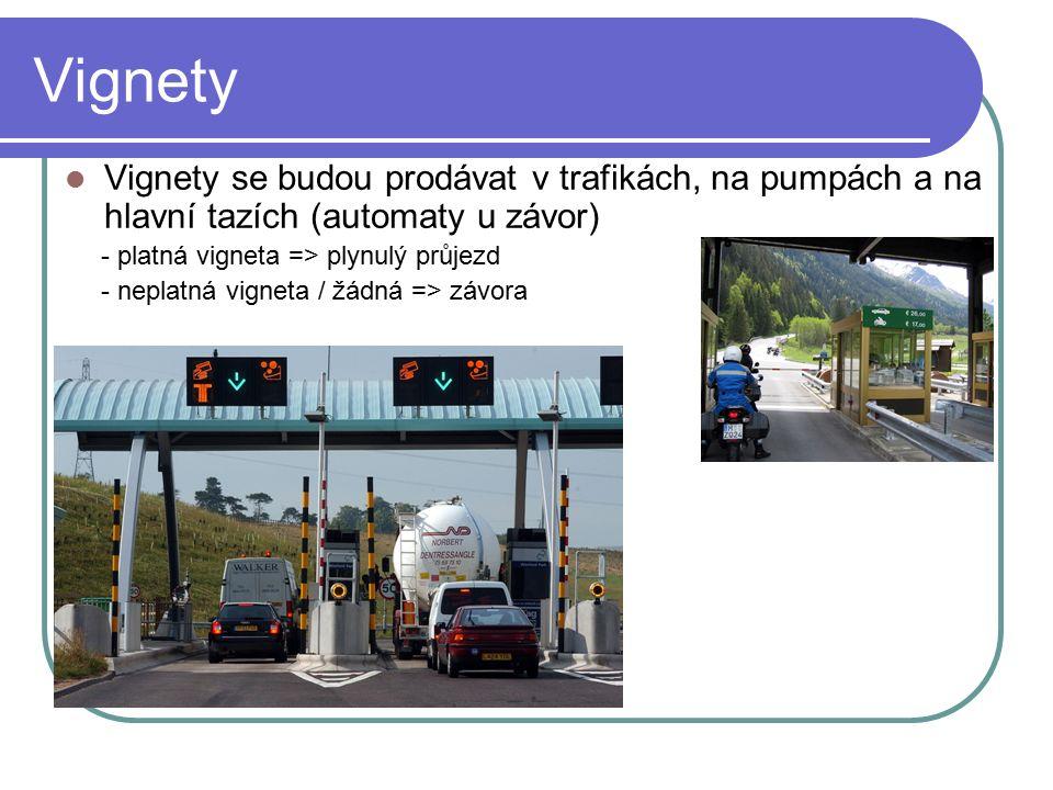 Vignety Vignety se budou prodávat v trafikách, na pumpách a na hlavní tazích (automaty u závor) - platná vigneta => plynulý průjezd - neplatná vigneta