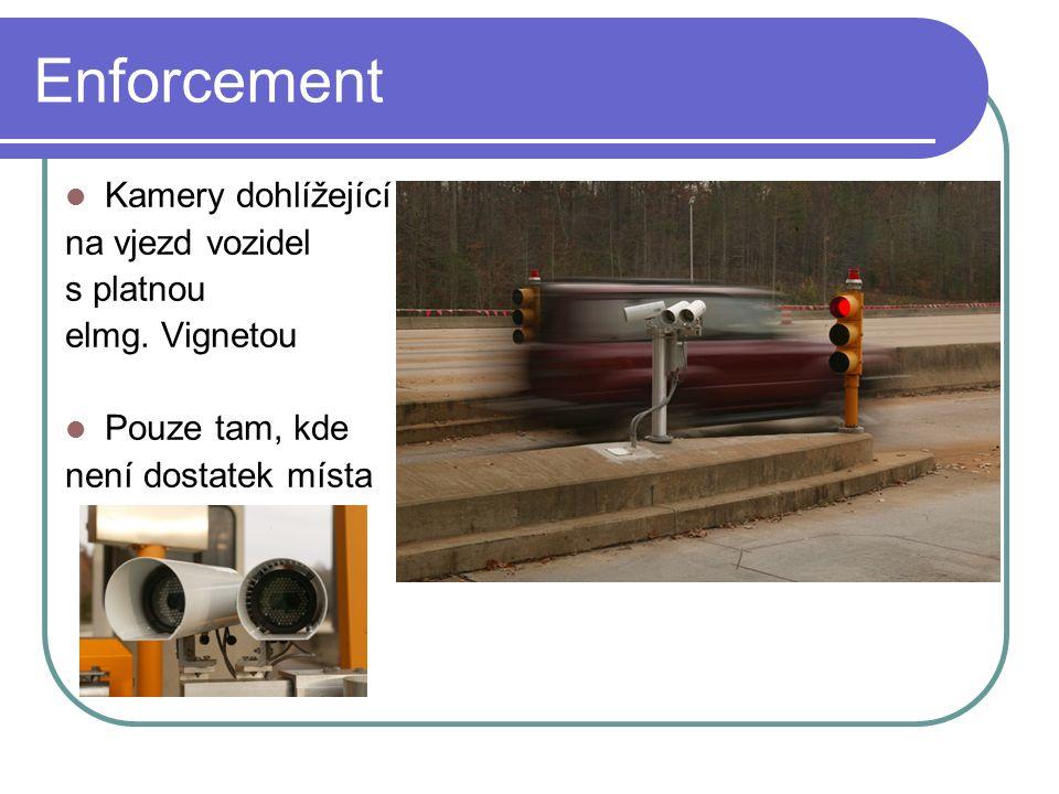 Enforcement Kamery dohlížející na vjezd vozidel s platnou elmg. Vignetou Pouze tam, kde není dostatek místa