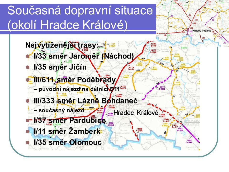 Současná dopravní situace (okolí Hradce Králové) Nejvytíženější trasy: I/33 směr Jaroměř (Náchod) I/35 směr Jičín III/611 směr Poděbrady – původní náj