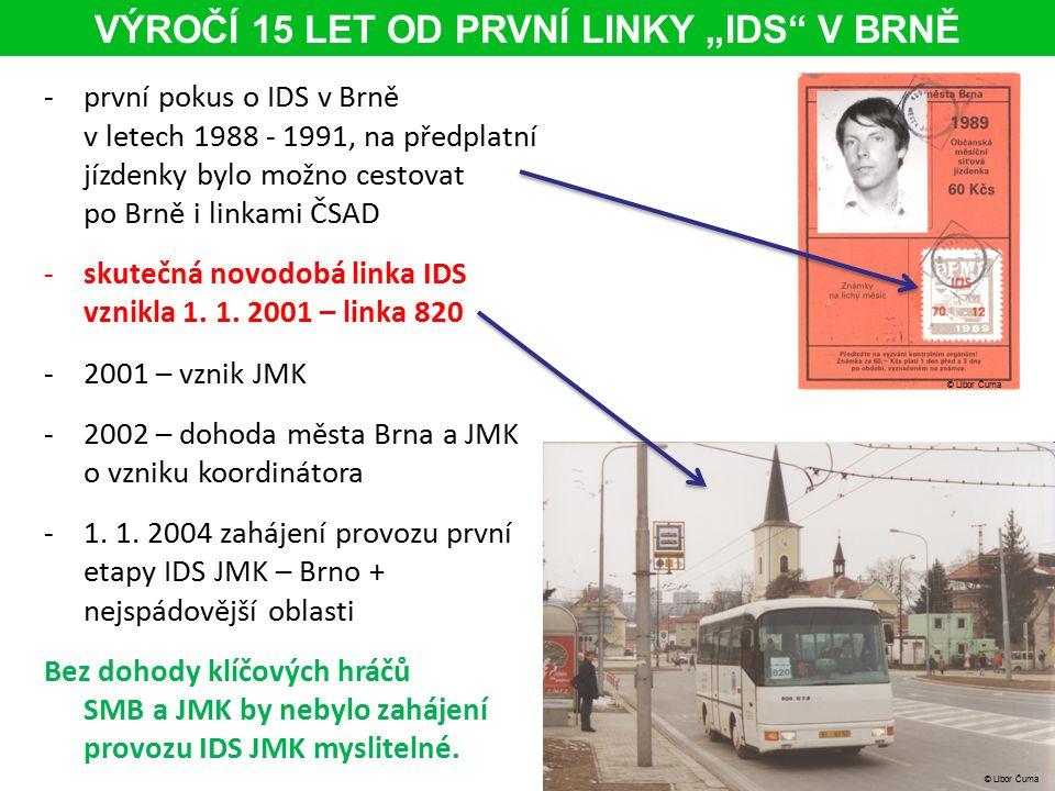 """VÝROČÍ 15 LET OD PRVNÍ LINKY """"IDS V BRNĚ -první pokus o IDS v Brně v letech 1988 - 1991, na předplatní jízdenky bylo možno cestovat po Brně i linkami ČSAD -skutečná novodobá linka IDS vznikla 1."""