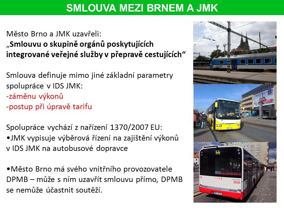 """Město Brno a JMK uzavřeli: """"Smlouvu o skupině orgánů poskytujících integrované veřejné služby v přepravě cestujících Smlouva definuje mimo jiné základní parametry spolupráce v IDS JMK: -záměnu výkonů -postup při úpravě tarifu Spolupráce vychází z nařízení 1370/2007 EU: JMK vypisuje výběrová řízení na zajištění výkonů v IDS JMK na autobusové dopravce Město Brno má svého vnitřního provozovatele DPMB – může s ním uzavřít smlouvu přímo, DPMB se nemůže účastnit soutěží."""