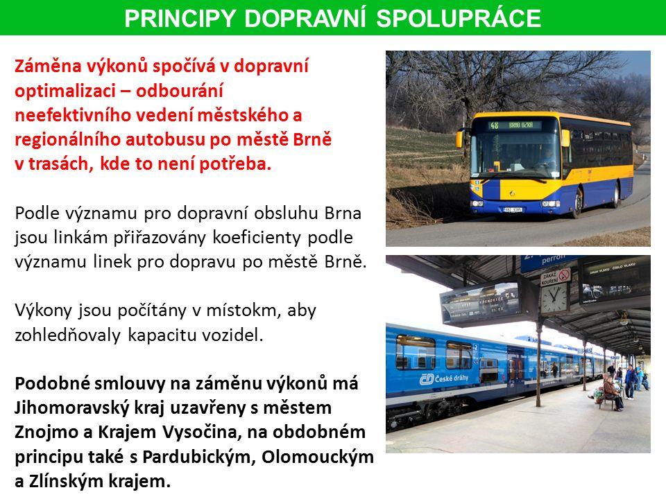 Záměna výkonů spočívá v dopravní optimalizaci – odbourání neefektivního vedení městského a regionálního autobusu po městě Brně v trasách, kde to není potřeba.