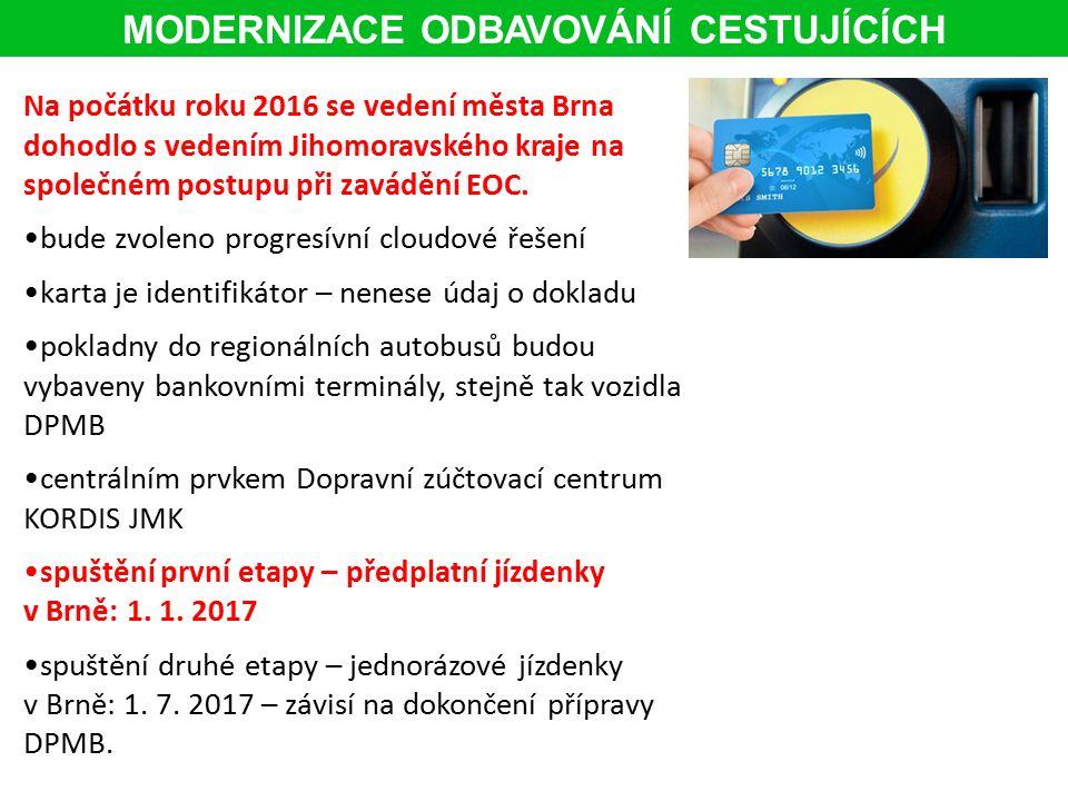 Na počátku roku 2016 se vedení města Brna dohodlo s vedením Jihomoravského kraje na společném postupu při zavádění EOC.