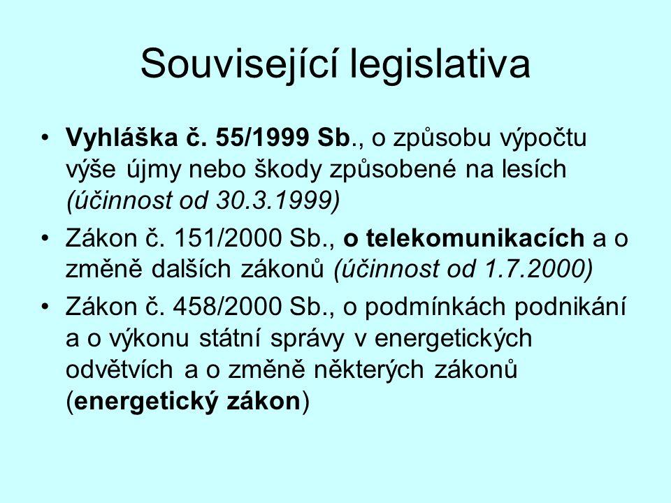 Související legislativa Vyhláška č. 55/1999 Sb., o způsobu výpočtu výše újmy nebo škody způsobené na lesích (účinnost od 30.3.1999) Zákon č. 151/2000