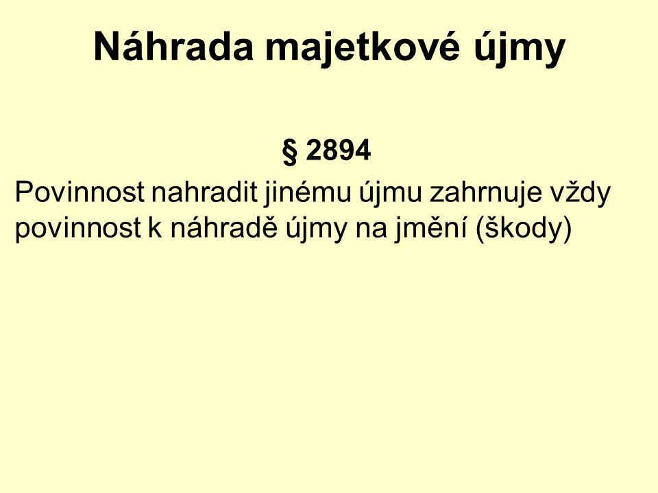 Náhrada majetkové újmy § 2894 Povinnost nahradit jinému újmu zahrnuje vždy povinnost k náhradě újmy na jmění (škody)
