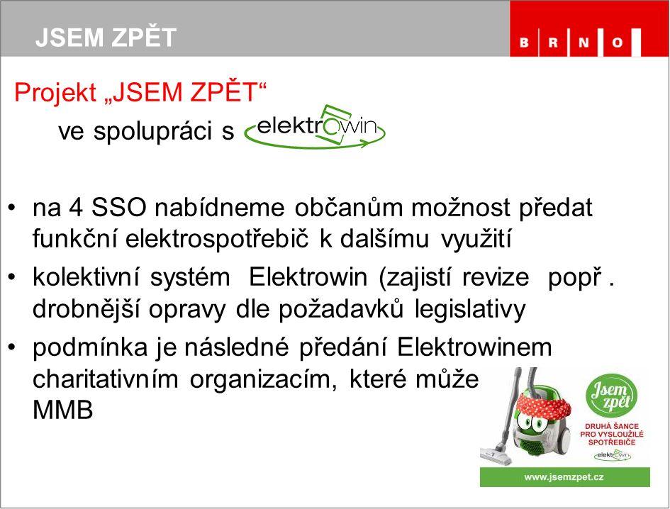 """JSEM ZPĚT Projekt """"JSEM ZPĚT ve spolupráci s na 4 SSO nabídneme občanům možnost předat funkční elektrospotřebič k dalšímu využití kolektivní systém Elektrowin (zajistí revize popř."""