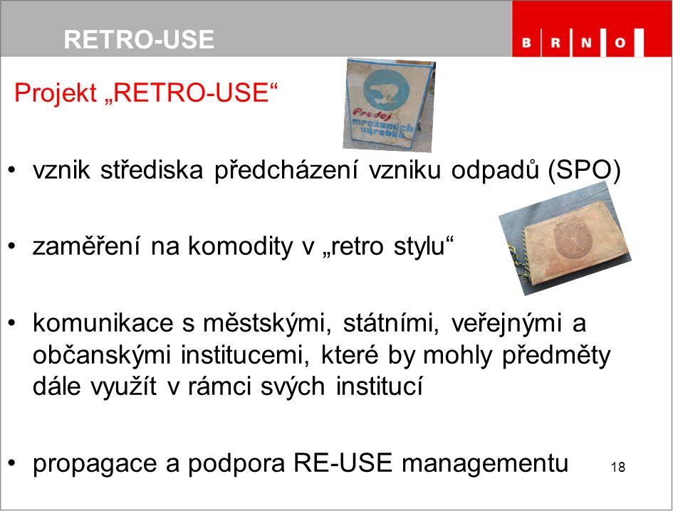 """Projekt """"RETRO-USE vznik střediska předcházení vzniku odpadů (SPO) zaměření na komodity v """"retro stylu komunikace s městskými, státními, veřejnými a občanskými institucemi, které by mohly předměty dále využít v rámci svých institucí propagace a podpora RE-USE managementu 18"""