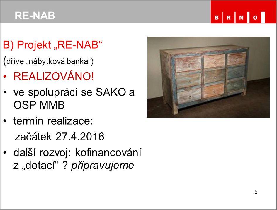 """RE-NAB B) Projekt """"RE-NAB ( dříve """"nábytková banka ) REALIZOVÁNO."""