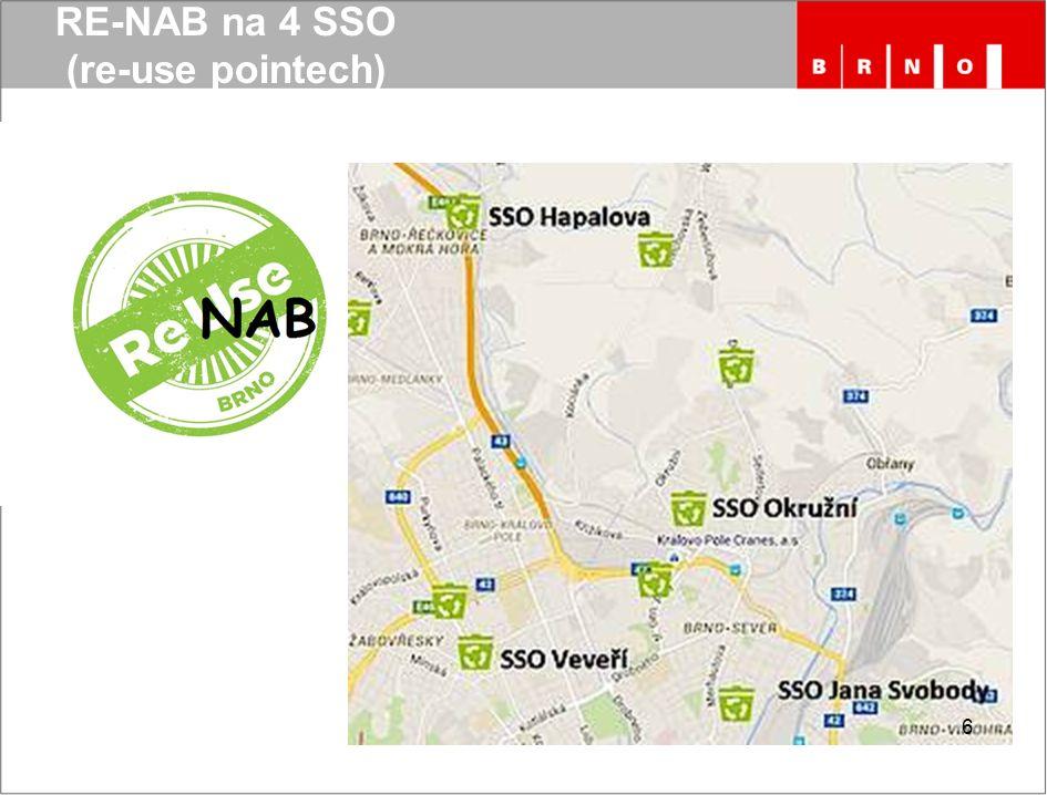 """RE-NAB projekt """"RE-NAB na 4 SSO nabízíme občanům možnost předat funkční nábytek k dalšímu využití SAKO zajistí svoz nábytku z SSO do skladu, který bude zatím na SAKO (areál divize svoz v Komárově)."""