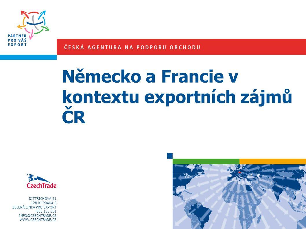 DITTRICHOVA 21 128 01 PRAHA 2 ZELENÁ LINKA PRO EXPORT 800 133 331 INFO@CZECHTRADE.CZ WWW.CZECHTRADE.CZ Německo a Francie v kontextu exportních zájmů Č
