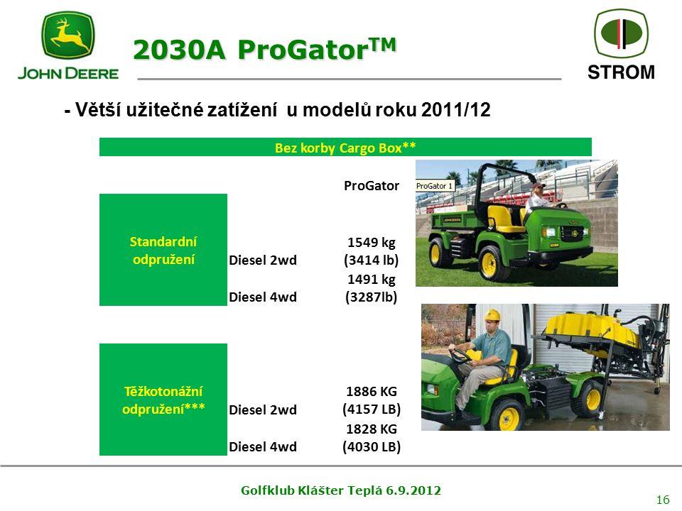 Golfklub Klášter Teplá 6.9.2012 16 - Větší užitečné zatížení u modelů roku 2011/12 2030A ProGator TM Bez korby Cargo Box** ProGator Standardní odpruže