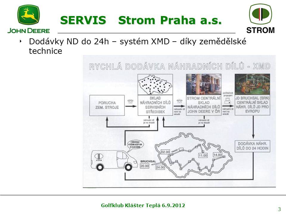 Golfklub Klášter Teplá 6.9.2012 3 SERVIS Strom Praha a.s.  Dodávky ND do 24h – systém XMD – díky zemědělské technice