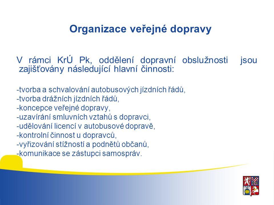 Organizace veřejné dopravy V rámci KrÚ Pk, oddělení dopravní obslužnosti jsou zajišťovány následující hlavní činnosti: -tvorba a schvalování autobusových jízdních řádů, -tvorba drážních jízdních řádů, -koncepce veřejné dopravy, -uzavírání smluvních vztahů s dopravci, -udělování licencí v autobusové dopravě, -kontrolní činnost u dopravců, -vyřizování stížností a podnětů občanů, -komunikace se zástupci samospráv.