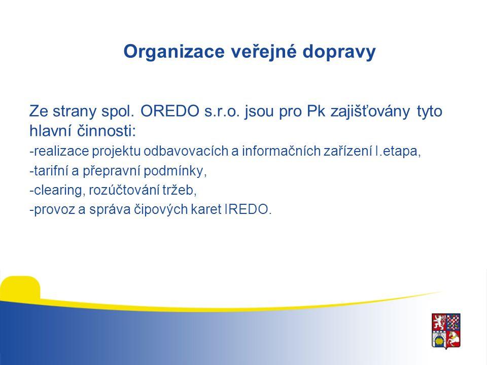 Organizace veřejné dopravy Ze strany spol. OREDO s.r.o. jsou pro Pk zajišťovány tyto hlavní činnosti: -realizace projektu odbavovacích a informačních