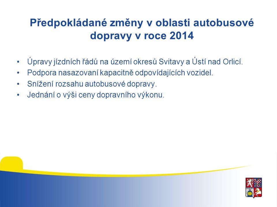 Předpokládané změny v oblasti autobusové dopravy v roce 2014 Úpravy jízdních řádů na území okresů Svitavy a Ústí nad Orlicí. Podpora nasazovaní kapaci