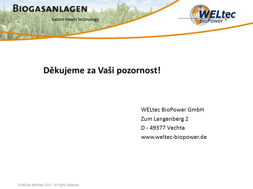 © WELtec BioPower 2010. All Rights Reserved. Děkujeme za Vaši pozornost.