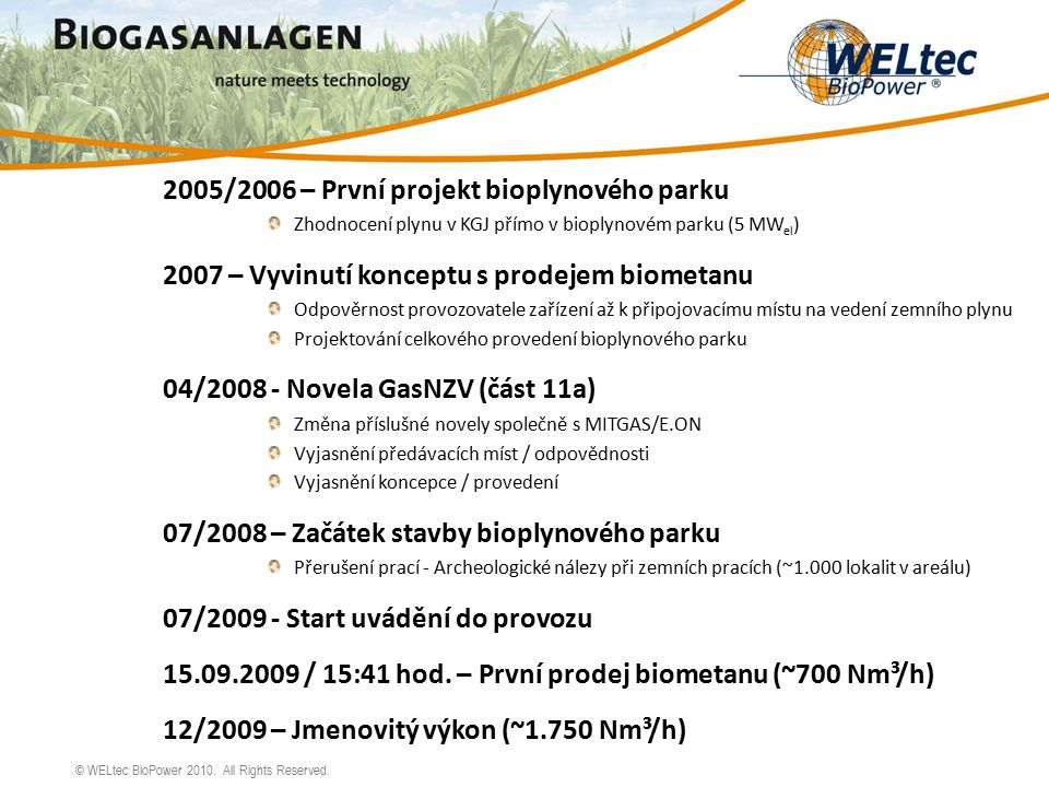 © WELtec BioPower 2010.All Rights Reserved.