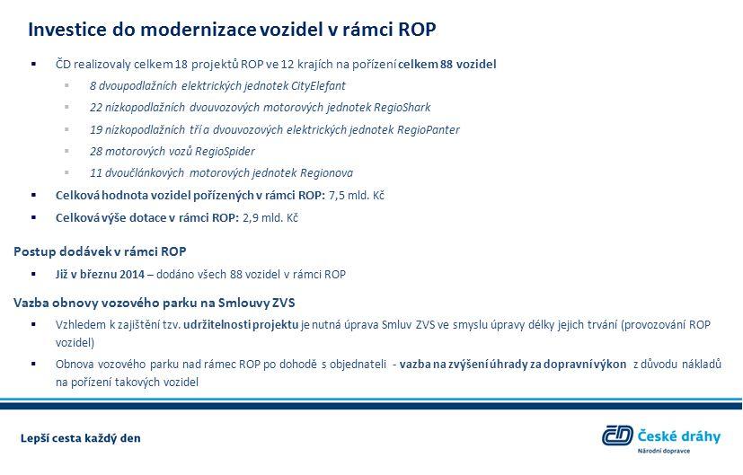 Investice do modernizace vozidel v rámci ROP  ČD realizovaly celkem 18 projektů ROP ve 12 krajích na pořízení celkem 88 vozidel  8 dvoupodlažních elektrických jednotek CityElefant  22 nízkopodlažních dvouvozových motorových jednotek RegioShark  19 nízkopodlažních tří a dvouvozových elektrických jednotek RegioPanter  28 motorových vozů RegioSpider  11 dvoučlánkových motorových jednotek Regionova  Celková hodnota vozidel pořízených v rámci ROP: 7,5 mld.