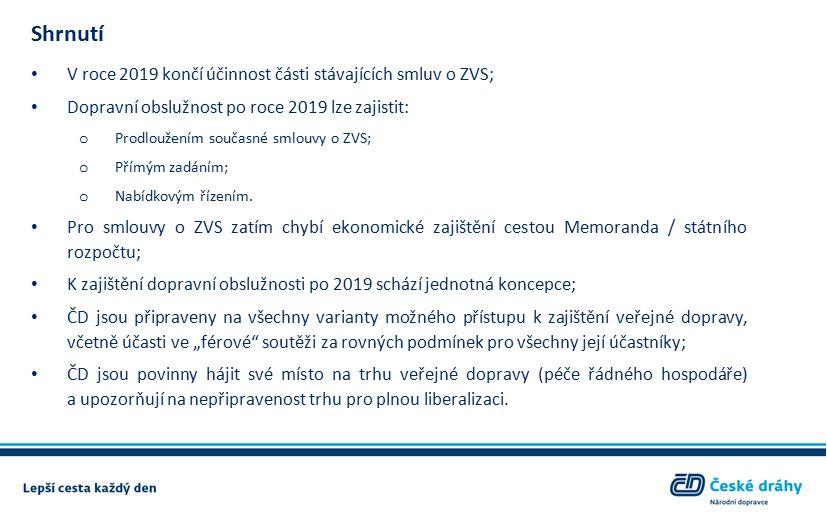 Shrnutí V roce 2019 končí účinnost části stávajících smluv o ZVS; Dopravní obslužnost po roce 2019 lze zajistit: o Prodloužením současné smlouvy o ZVS; o Přímým zadáním; o Nabídkovým řízením.