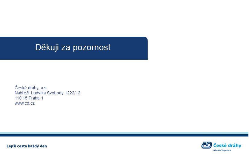 Děkuji za pozornost České dráhy, a.s. Nábřeží Ludvíka Svobody 1222/12 110 15 Praha 1 www.cd.cz