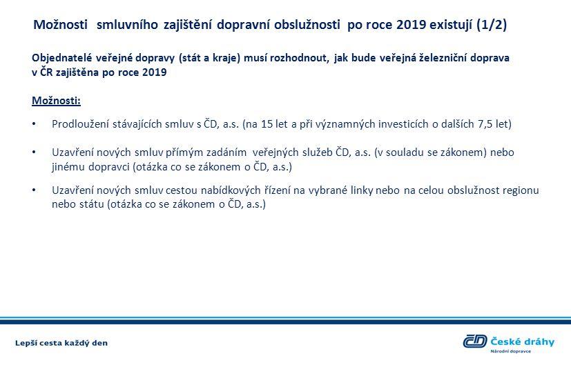 Možnosti smluvního zajištění dopravní obslužnosti po roce 2019 existují (1/2) Objednatelé veřejné dopravy (stát a kraje) musí rozhodnout, jak bude veřejná železniční doprava v ČR zajištěna po roce 2019 Možnosti: Prodloužení stávajících smluv s ČD, a.s.