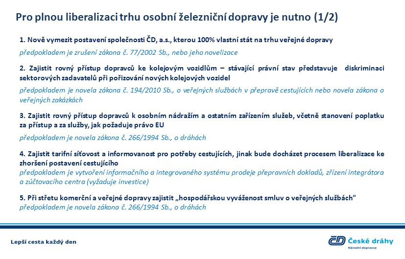Pro plnou liberalizaci trhu osobní železniční dopravy je nutno (1/2) 1.