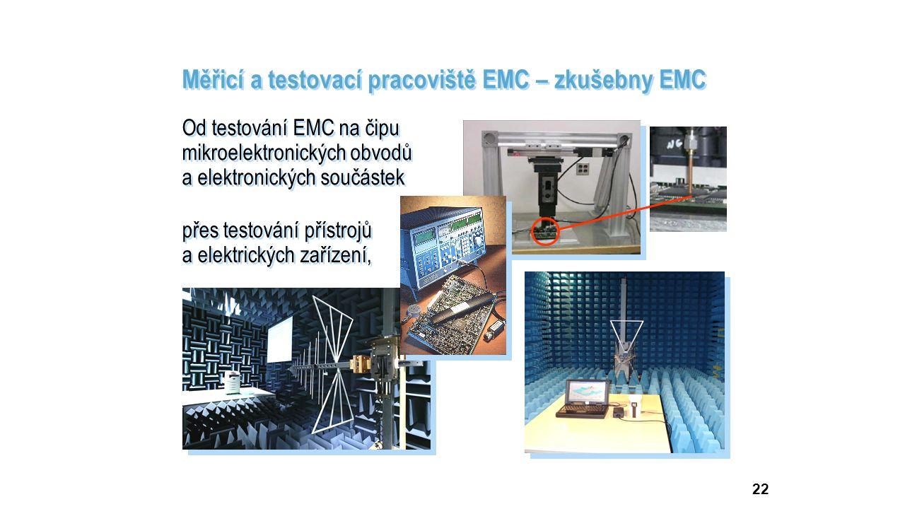 22 Měřicí a testovací pracoviště EMC – zkušebny EMC Od testování EMC na čipu mikroelektronických obvodů a elektronických součástek Od testování EMC na čipu mikroelektronických obvodů a elektronických součástek přes testování přístrojů a elektrických zařízení,