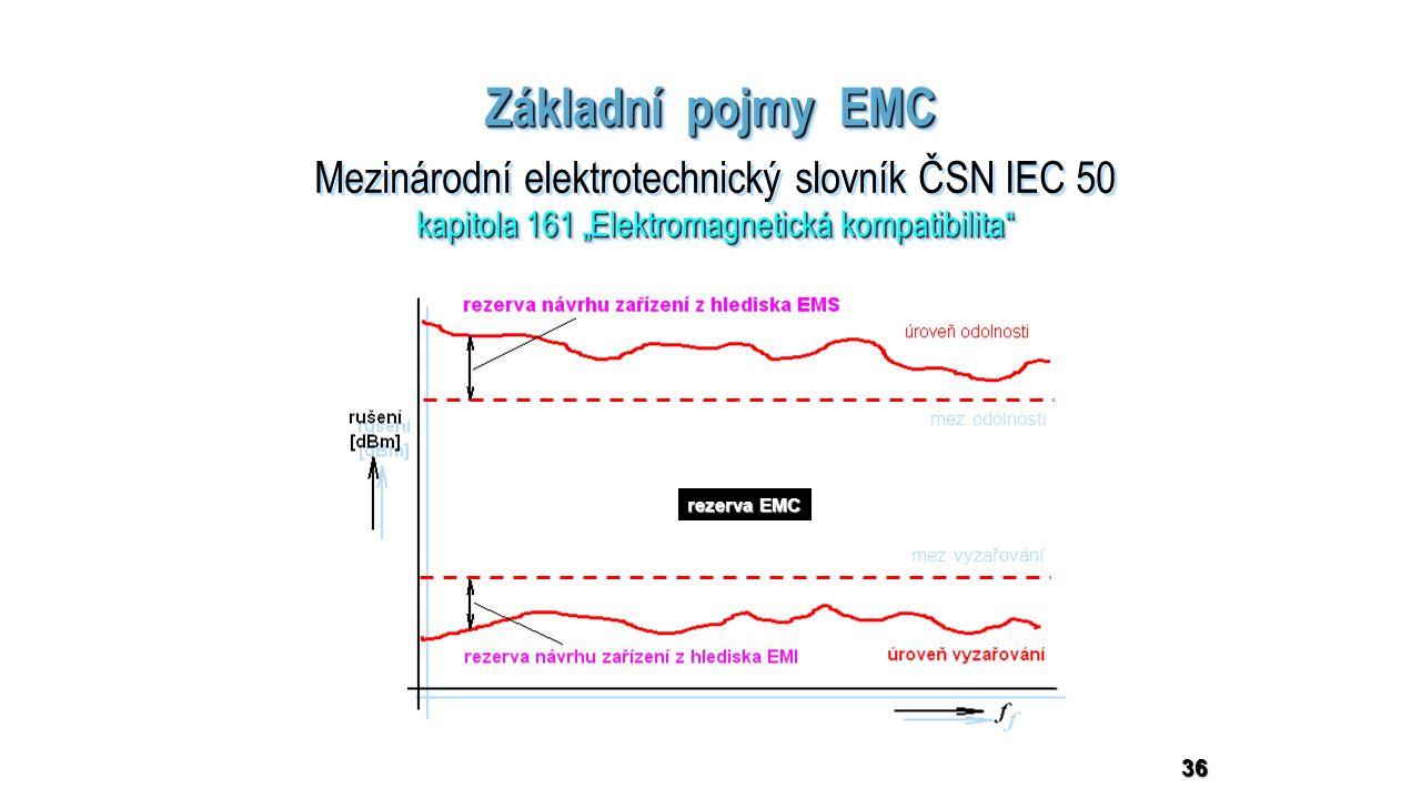 """36 Základní pojmy EMC Mezinárodní elektrotechnický slovník ČSN IEC 50 kapitola 161 """"Elektromagnetická kompatibilita Mezinárodní elektrotechnický slovník ČSN IEC 50 kapitola 161 """"Elektromagnetická kompatibilita mez vyzařování mez odolnosti rezerva EMC"""