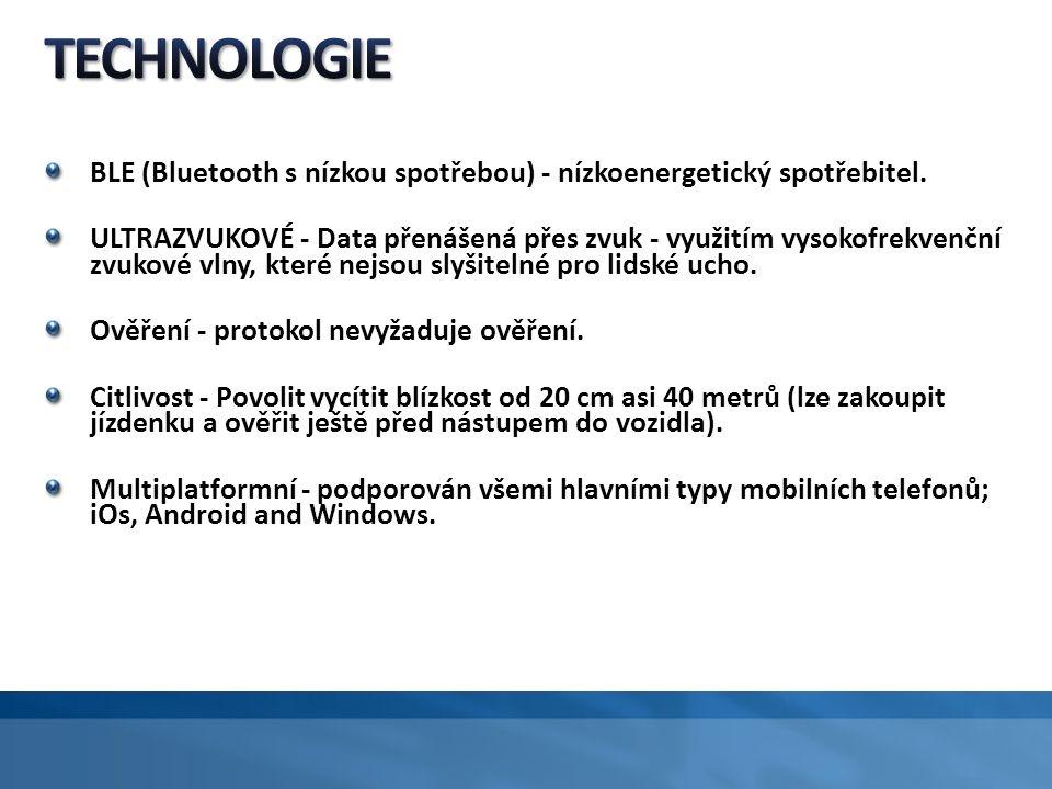 BLE (Bluetooth s nízkou spotřebou) - nízkoenergetický spotřebitel. ULTRAZVUKOVÉ - Data přenášená přes zvuk - využitím vysokofrekvenční zvukové vlny, k