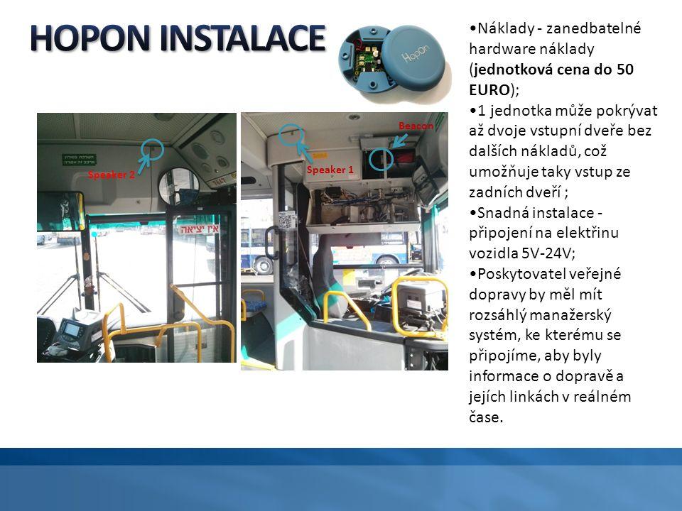 Beacon Speaker 1 Speaker 2 Náklady - zanedbatelné hardware náklady (jednotková cena do 50 EURO); 1 jednotka může pokrývat až dvoje vstupní dveře bez d