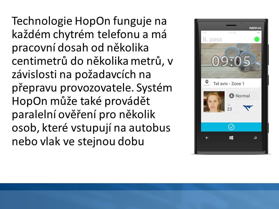 Technologie HopOn funguje na každém chytrém telefonu a má pracovní dosah od několika centimetrů do několika metrů, v závislosti na požadavcích na přep