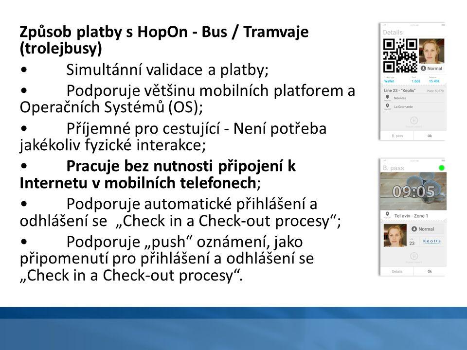 Způsob platby s HopOn - Bus / Tramvaje (trolejbusy) Simultánní validace a platby; Podporuje většinu mobilních platforem a Operačních Systémů (OS); Pří