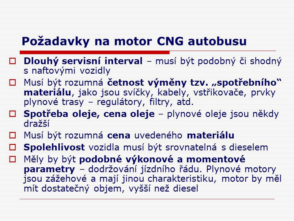 Požadavky na motor CNG autobusu  Dlouhý servisní interval – musí být podobný či shodný s naftovými vozidly  Musí být rozumná četnost výměny tzv.