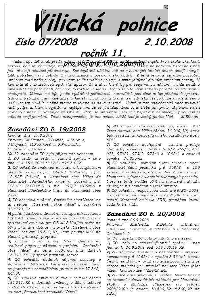 Vilická polnice číslo 07/2008 2.10.2008 ročník 11.