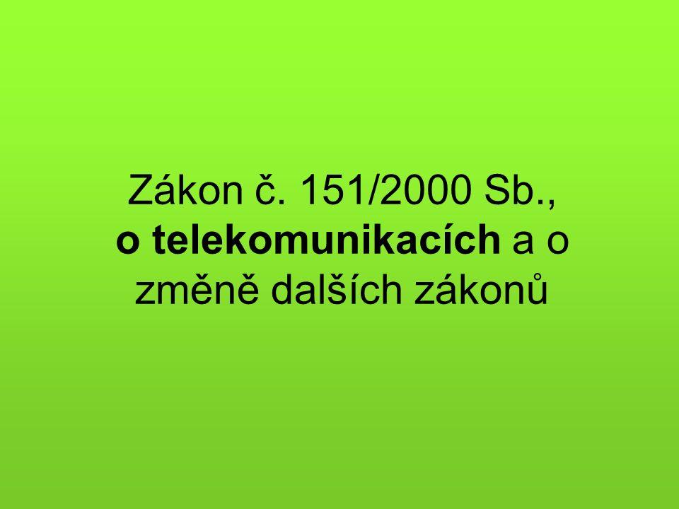 Zákon č. 151/2000 Sb., o telekomunikacích a o změně dalších zákonů