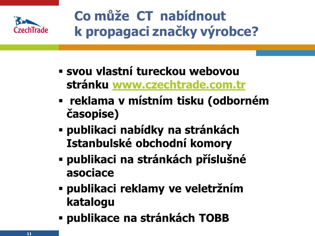 11 Co může CT nabídnout k propagaci značky výrobce?  svou vlastní tureckou webovou stránku www.czechtrade.com.trwww.czechtrade.com.tr  reklama v mís