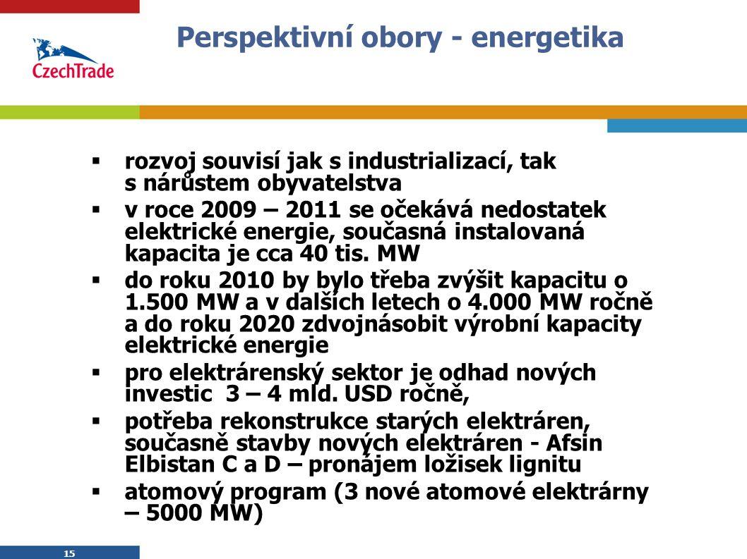 15 Perspektivní obory - energetika  rozvoj souvisí jak s industrializací, tak s nárůstem obyvatelstva  v roce 2009 – 2011 se očekává nedostatek elektrické energie, současná instalovaná kapacita je cca 40 tis.