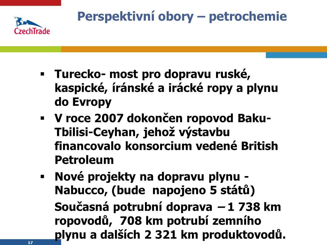 17 Perspektivní obory – petrochemie  Turecko- most pro dopravu ruské, kaspické, íránské a irácké ropy a plynu do Evropy  V roce 2007 dokončen ropovod Baku- Tbilisi-Ceyhan, jehož výstavbu financovalo konsorcium vedené British Petroleum  Nové projekty na dopravu plynu - Nabucco, (bude napojeno 5 států) Současná potrubní doprava – 1 738 km ropovodů, 708 km potrubí zemního plynu a dalších 2 321 km produktovodů.