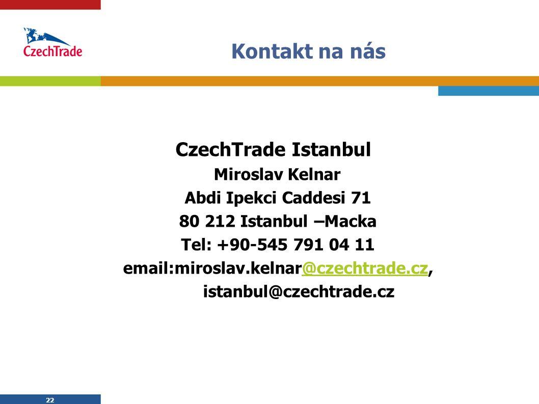 22 Kontakt na nás CzechTrade Istanbul Miroslav Kelnar Abdi Ipekci Caddesi 71 80 212 Istanbul –Macka Tel: +90-545 791 04 11 email:miroslav.kelnar@czechtrade.cz,@czechtrade.cz istanbul@czechtrade.cz 22