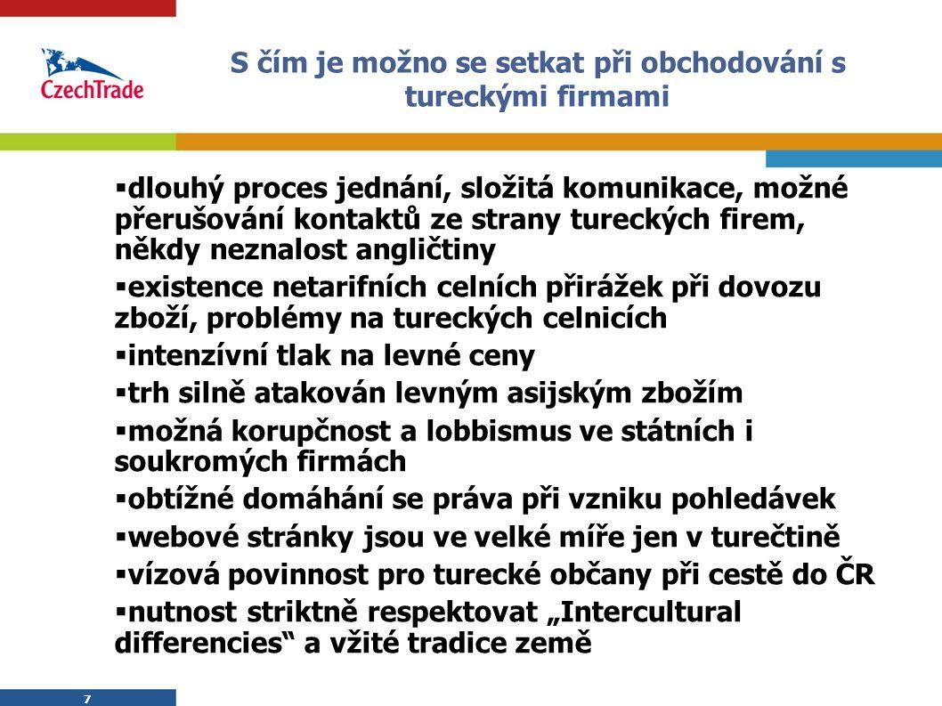 7 S čím je možno se setkat při obchodování s tureckými firmami  dlouhý proces jednání, složitá komunikace, možné přerušování kontaktů ze strany turec