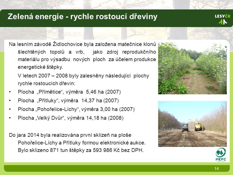 Zelená energie - rychle rostoucí dřeviny 14 Na lesním závodě Židlochovice byla založena matečnice klonů šlechtěných topolů a vrb, jako zdroj reprodukčního materiálu pro výsadbu nových ploch za účelem produkce energetické štěpky.