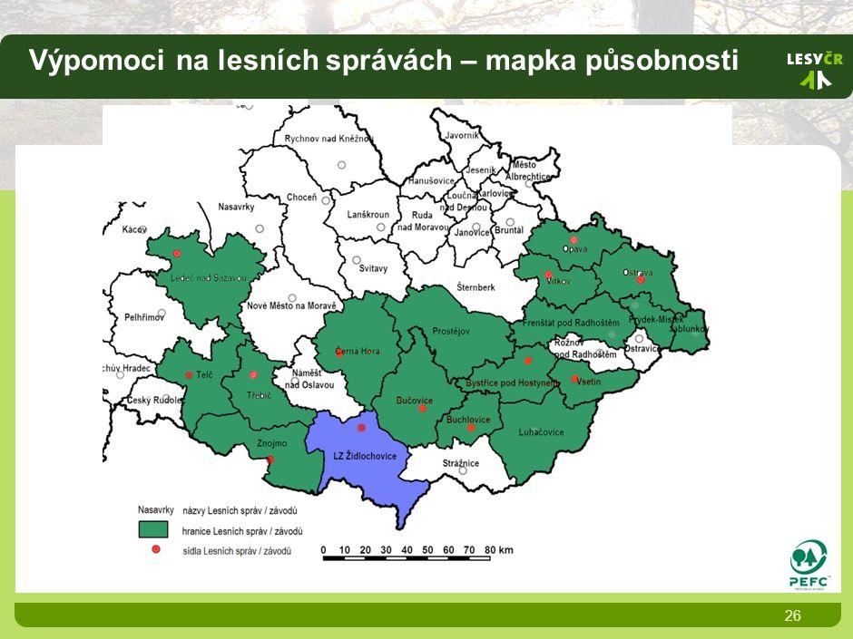 Výpomoci na lesních správách – mapka působnosti 26