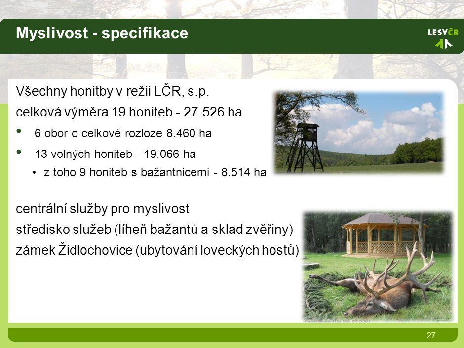 Myslivost - specifikace 27 Všechny honitby v režii LČR, s.p.