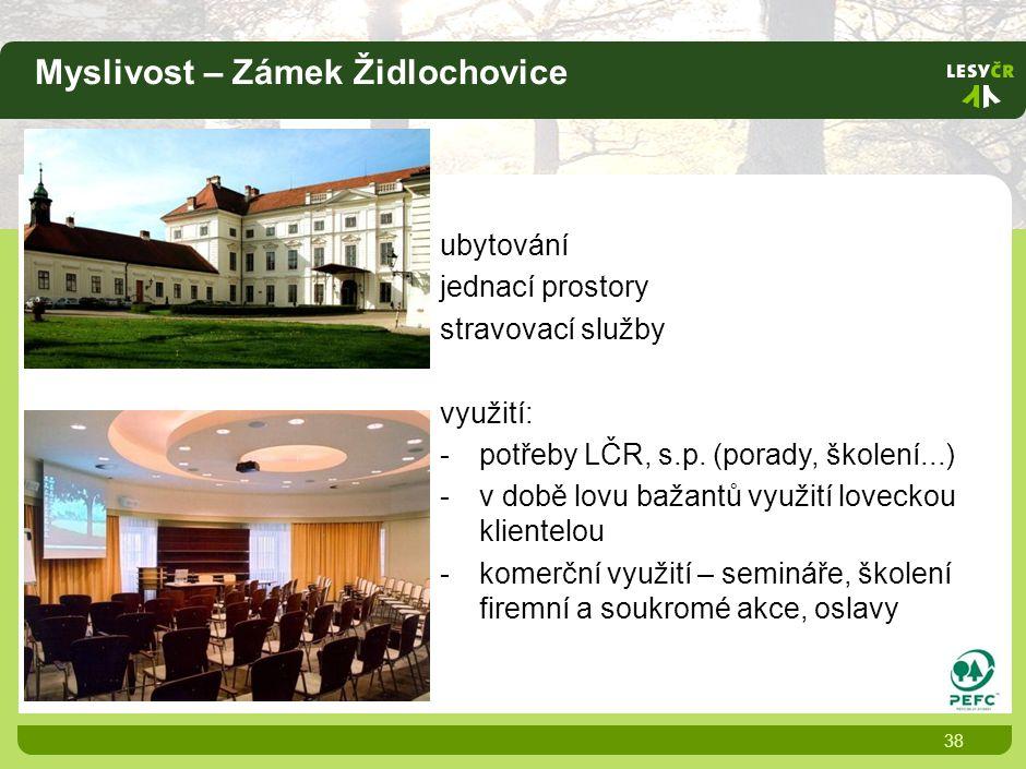 Myslivost – Zámek Židlochovice 38 ubytování jednací prostory stravovací služby využití: -potřeby LČR, s.p.